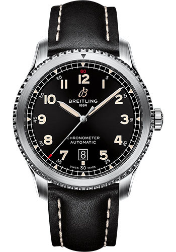Breitling Watches - Aviator 8 Automatic 41 Stainless Steel - Leather Strap - Tang Buckle - Style No: A17315101B1X1