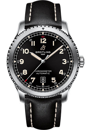 Breitling Watches - Aviator 8 Automatic 41 Stainless Steel - Leather Strap - Folding Buckle - Style No: A17315101B1X2