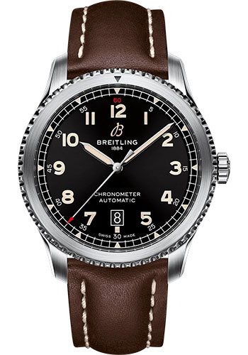 Breitling Watches - Aviator 8 Automatic 41 Stainless Steel - Leather Strap - Tang Buckle - Style No: A17315101B1X3