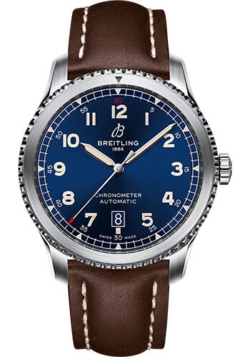 Breitling Watches - Aviator 8 Automatic 41 Stainless Steel - Leather Strap - Folding Buckle - Style No: A17315101C1X3