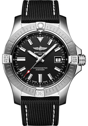 Breitling Watches - Avenger Automatic 43 Stainless Steel - Leather Strap - Folding Buckle - Style No: A17318101B1X2