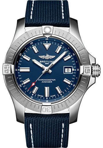 Breitling Watches - Avenger Automatic 43 Stainless Steel - Leather Strap - Folding Buckle - Style No: A17318101C1X2