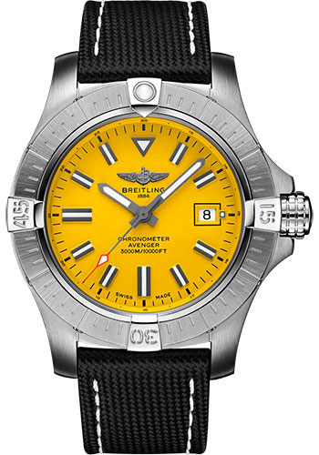 Breitling Watches - Avenger Automatic 45 Seawolf Stainless Steel - Leather Strap - Folding Buckle - Style No: A17319101I1X2
