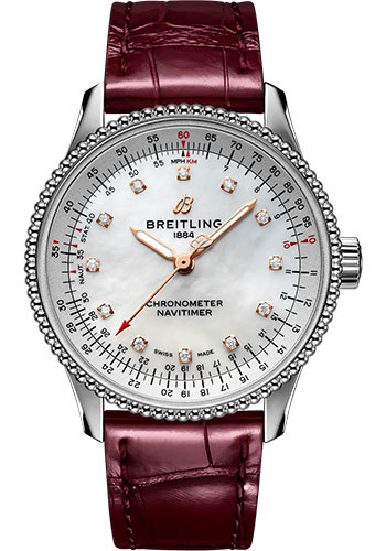 Breitling Watches - Navitimer Automatic 35mm - Stainless Steel - Croco Strap - Folding Buckle - Style No: A17395211A1P2
