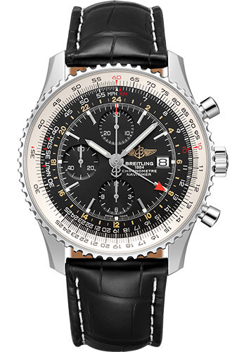 Breitling Watches - Navitimer Chronograph GMT 46 Stainless Steel - Croco Strap - Tang - Style No: A24322121B1P1