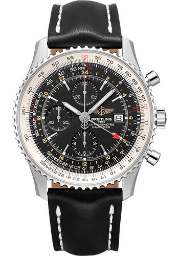 Breitling Watches - Navitimer Chronograph GMT 46 Stainless Steel - Leather Strap - Tang - Style No: A24322121B1X1