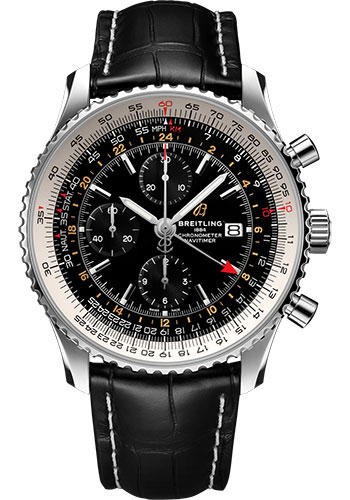 Breitling Watches - Navitimer Chronograph GMT 46 Stainless Steel - Croco Strap - Folding Buckle - Style No: A24322121B2P2
