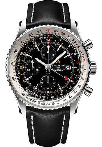 Breitling Watches - Navitimer Chronograph GMT 46 Stainless Steel - Leather Strap - Tang - Style No: A24322121B2X1