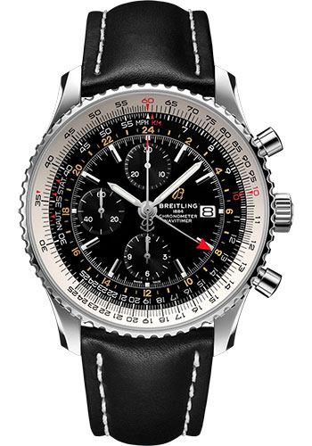 Breitling Watches - Navitimer Chronograph GMT 46 Stainless Steel - Leather Strap - Folding Buckle - Style No: A24322121B2X2
