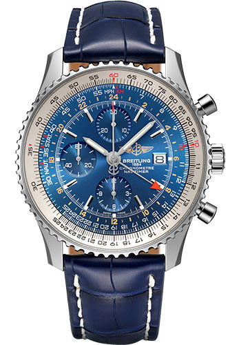 Breitling Watches - Navitimer Chronograph GMT 46 Stainless Steel - Croco Strap - Tang - Style No: A24322121C1P1