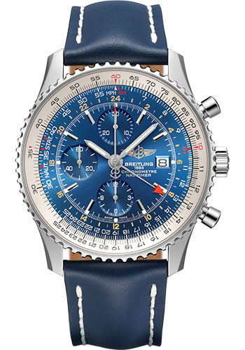 Breitling Watches - Navitimer Chronograph GMT 46 Stainless Steel - Leather Strap - Tang - Style No: A24322121C1X1