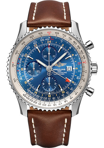 Breitling Watches - Navitimer Chronograph GMT 46 Stainless Steel - Leather Strap - Tang - Style No: A24322121C1X2