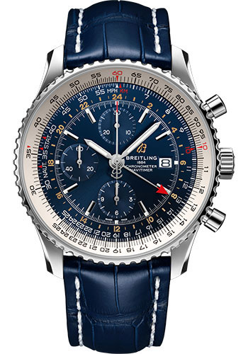Breitling Watches - Navitimer Chronograph GMT 46 Stainless Steel - Croco Strap - Folding Buckle - Style No: A24322121C2P2