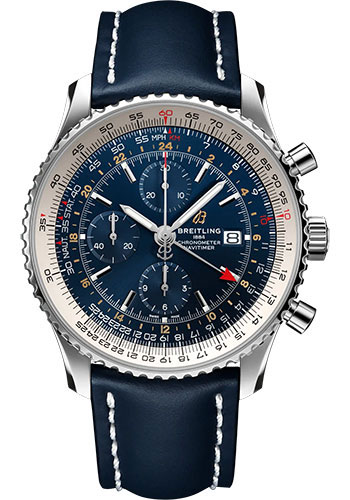Breitling Watches - Navitimer Chronograph GMT 46 Stainless Steel - Leather Strap - Folding Buckle - Style No: A24322121C2X2