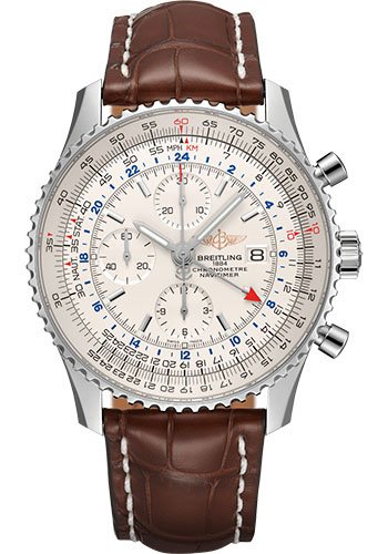 Breitling Watches - Navitimer Chronograph GMT 46 Stainless Steel - Croco Strap - Tang - Style No: A24322121G1P1