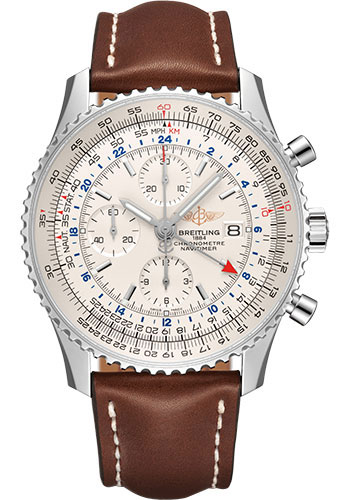 Breitling Watches - Navitimer Chronograph GMT 46 Stainless Steel - Leather Strap - Tang - Style No: A24322121G1X1