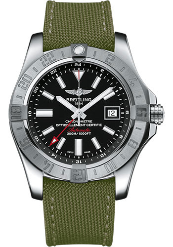 Breitling Watches - Avenger II GMT Military Strap - Tang Buckle - Style No: A3239011/BC35-military-khaki-green-tang