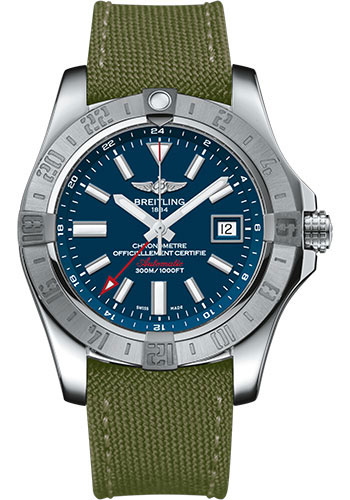 Breitling Watches - Avenger II GMT Military Strap - Tang Buckle - Style No: A3239011/C872-military-khaki-green-tang