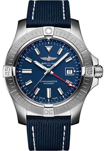 Breitling Watches - Avenger Automatic GMT 45 Stainless Steel - Leather Strap - Tang Buckle - Style No: A32395101C1X1