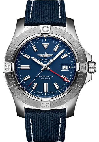 Breitling Watches - Avenger Automatic GMT 45 Stainless Steel - Leather Strap - Folding Buckle - Style No: A32395101C1X2