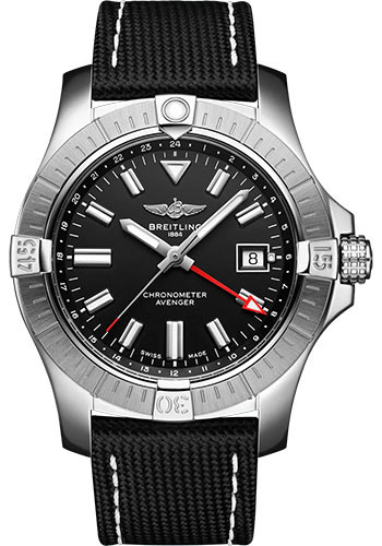 Breitling Watches - Avenger Automatic GMT 43 Stainless Steel - Leather Strap - Tang Buckle - Style No: A32397101B1X1