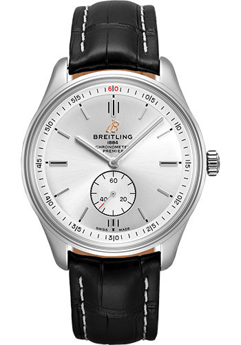 Breitling Watches - Premier Automatic 40 Stainless Steel - Croco Strap - Deployant - Style No: A37340351G1P1