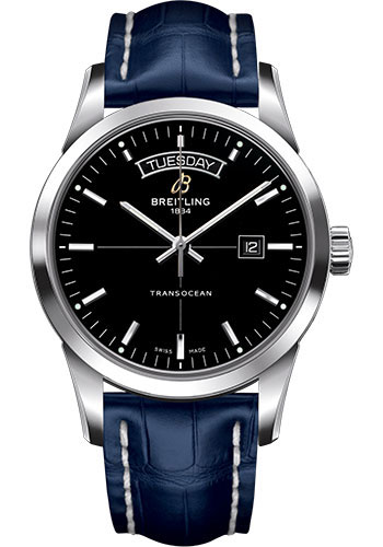 Breitling Watches - Transocean Day and Date Stainless Steel on Croco - Style No: A4531012/BB69-croco-blue-tang