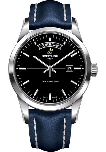 Breitling Watches - Transocean Day and Date Stainless Steel on Leather Deployant - Style No: A4531012/BB69-leather-blue-deployant