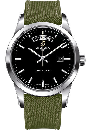 Breitling Watches - Transocean Day and Date Stainless Steel on Military Strap - Style No: A4531012/BB69-military-khaki-green-tang