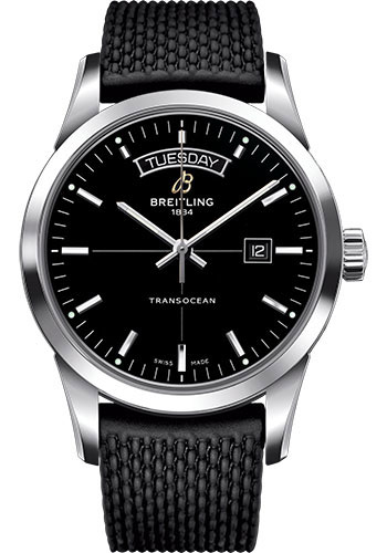 Breitling Watches - Transocean Day and Date Stainless Steel on Rubber Aero Classic Deployant - Style No: A4531012/BB69-rubber-aero-classic-black-deployant