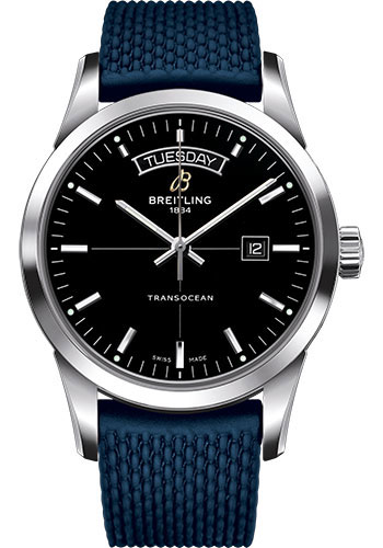 Breitling Watches - Transocean Day and Date Stainless Steel on Rubber Aero Classic Deployant - Style No: A4531012/BB69-rubber-aero-classic-blue-deployant