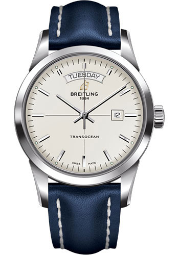 Breitling Watches - Transocean Day and Date Stainless Steel - Leather Strap - Tang - Style No: A4531012/G751/105X/A20BA.1