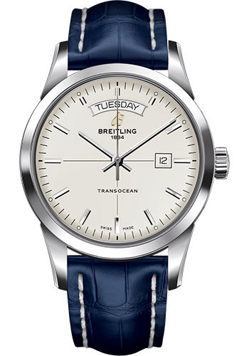 Breitling Watches - Transocean Day and Date Stainless Steel on Croco - Style No: A4531012/G751-croco-blue-tang