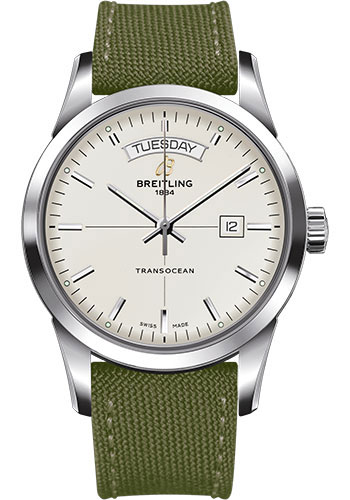 Breitling Watches - Transocean Day and Date Stainless Steel on Military Strap - Style No: A4531012/G751-military-khaki-green-tang