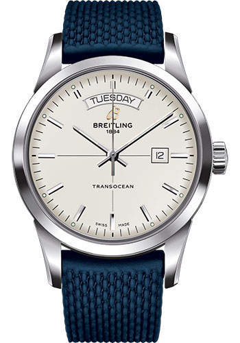 Breitling Watches - Transocean Day and Date Stainless Steel on Rubber Aero Classic Deployant - Style No: A4531012/G751-rubber-aero-classic-blue-deployant