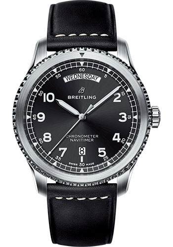 Breitling Watches - Aviator 8 Automatic Day and Date 41 Stainless Steel - Leather Strap - Style No: A45330101B1X1