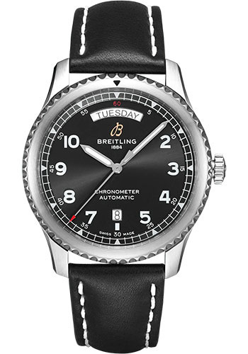 Breitling Watches - Aviator 8 Automatic Day and Date 41 Stainless Steel - Leather Strap - Folding Buckle - Style No: A45330101B1X2