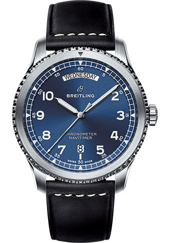Breitling Watches - Navitimer 8 Automatic Day and Date 41mm - Stainless Steel - Leather Strap - Style No: A45330101C1X1
