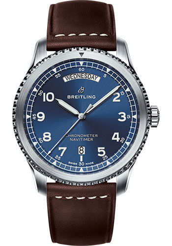 Breitling Watches - Navitimer 8 Automatic Day and Date 41mm - Stainless Steel - Leather Strap - Style No: A45330101C1X2