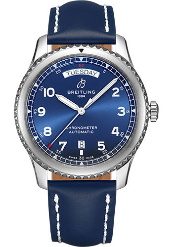 Breitling Watches - Aviator 8 Automatic Day and Date 41 Stainless Steel - Leather Strap - Tang Buckle - Style No: A45330101C1X3
