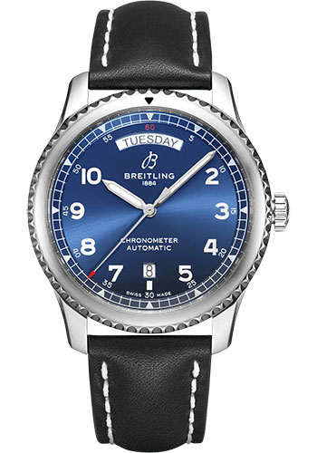 Breitling Watches - Aviator 8 Automatic Day and Date 41 Stainless Steel - Leather Strap - Folding Buckle - Style No: A45330101C1X4