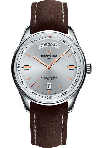 Breitling Watches - Premier Automatic Day and Date 40 Stainless Steel - Nubuck Strap - Tang - Style No: A45340211G1X3