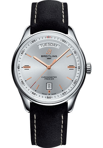 Breitling Watches - Premier Automatic Day and Date 40 Stainless Steel - Nubuck Strap - Tang - Style No: A45340211G1X4