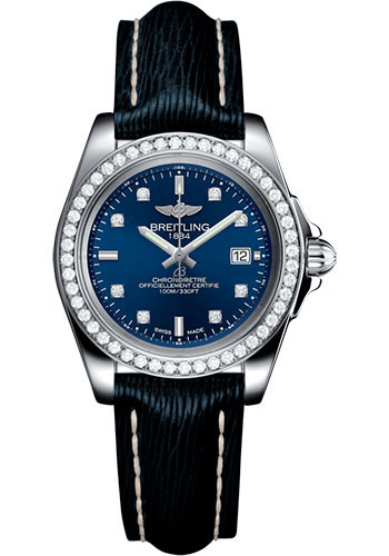 Breitling Watches - Galactic 32 Sleek Stainless Steel - Diamond Bezel - Sahara Strap - Tang - Style No: A7133053/C966/210X/A14BA.1