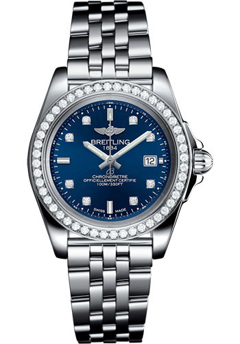 Breitling Watches - Galactic 32 Sleek Stainless Steel - Diamond Bezel - Pilot Bracelet - Style No: A7133053/C966/792A