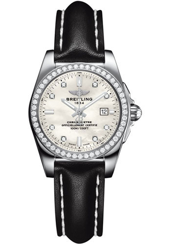 Breitling Watches - Galactic 29 SleekT Stainless Steel - Diamond Bezel - Leather - Tang - Style No: A7234853/A785/477X/A12BA.1