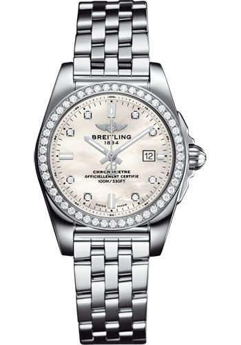 Breitling Watches - Galactic 29 SleekT Stainless Steel - Diamond Bezel - Pilot Bracelet - Style No: A72348531A1A1