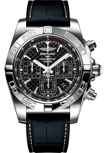 Breitling Watches - Chronomat 44 Steel Polished Bezel - Croco Rubber Strap - Deployant - Style No: AB011012/BF76/296S/A20D.4