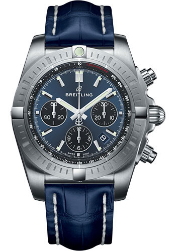 Breitling Watches - Chronomat B01 Chronograph 44mm - Stainless Steel - Croco Strap - Tang - Style No: AB0115101C1P1