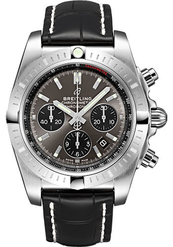 Breitling Watches - Chronomat B01 Chronograph 44mm - Stainless Steel - Croco Strap - Deployant - Style No: AB0115101F1P2